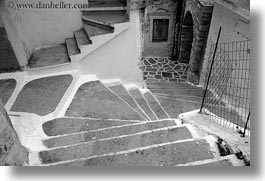 black and white, europe, greece, horizontal, labrynth, naxos, stairs, white wash, photograph