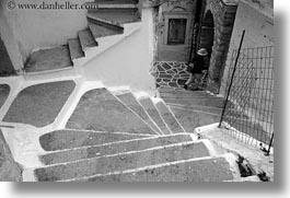 black and white, europe, greece, horizontal, labrynth, men, naxos, stairs, white wash, photograph