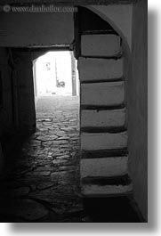 black and white, cobblestones, europe, greece, narrow, naxos, stairs, vertical, white wash, photograph