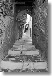 alleys, archways, black and white, europe, greece, narrow, naxos, stairs, vertical, white wash, photograph