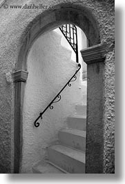 arches, black, black and white, europe, greece, irons, naxos, railing, stairs, vertical, white wash, photograph