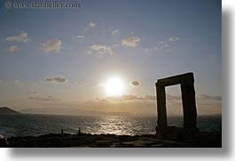 apollo, arches, architectural ruins, buildings, clouds, europe, greece, hikers, horizontal, nature, naxos, ocean, silhouettes, sky, structures, sun, sunsets, temple of apollo, photograph