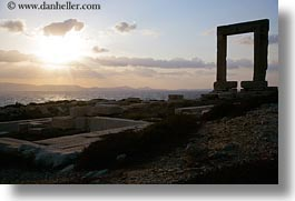 apollo, arches, architectural ruins, buildings, clouds, europe, greece, horizontal, nature, naxos, ocean, silhouettes, sky, structures, sun, sunsets, temple of apollo, photograph