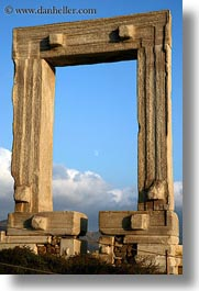 arches, architectural ruins, buildings, europe, greece, moon, naxos, structures, temple of apollo, vertical, photograph