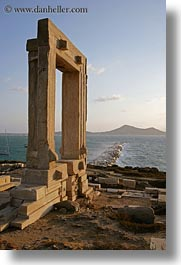 arches, architectural ruins, buildings, europe, greece, naxos, ocean, structures, temple of apollo, vertical, photograph