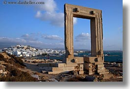 arches, architectural ruins, buildings, clouds, europe, greece, horizontal, nature, naxos, sky, structures, temple of apollo, towns, photograph