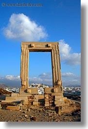 arches, architectural ruins, buildings, clouds, europe, greece, nature, naxos, sky, structures, temple of apollo, towns, vertical, photograph
