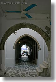 alleys, archways, blues, ceilings, europe, fans, greece, naxos, towns, vertical, white wash, photograph