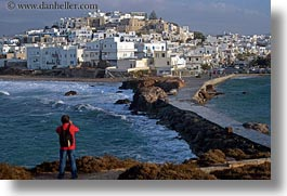 europe, greece, horizontal, men, nature, naxos, ocean, photographing, towns, water, photograph