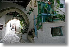 alleys, archways, europe, greece, horizontal, narrow, naxos, towns, white wash, photograph