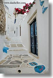 alleys, europe, flowers, greece, naxos, towns, vertical, white wash, photograph