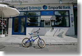 bank, bicycles, blues, europe, greece, greek, horizontal, naxos, vehicles, photograph