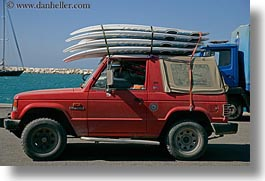 boards, colors, europe, greece, horizontal, naxos, red, surf, trucks, vehicles, photograph