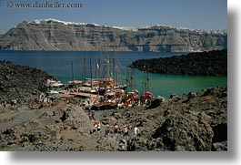 boats, caldron, europe, greece, horizontal, islands, santorini, photograph