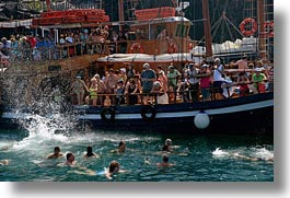 boats, caldron, crowded, europe, greece, horizontal, santorini, swimmers, photograph
