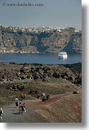 caldron, cruise, europe, greece, hikers, santorini, ships, vertical, photograph