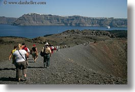 caldron, europe, greece, hikers, horizontal, santorini, photograph