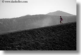 black and white, caldron, europe, greece, hikers, horizontal, pink, rocks, santorini, photograph