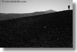 black and white, caldron, europe, greece, hikers, hills, horizontal, rockies, santorini, silhouettes, photograph