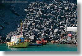 boats, caldron, europe, greece, greek, horizontal, santorini, yellow, photograph