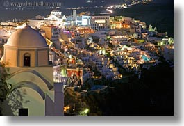 churches, cityscapes, europe, greece, horizontal, long exposure, nite, santorini, towns, photograph