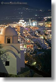 churches, cityscapes, europe, greece, long exposure, nite, santorini, towns, vertical, photograph