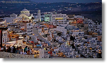 cityscapes, crowds, europe, greece, horizontal, nite, overlooking, santorini, slow exposure, towns, photograph