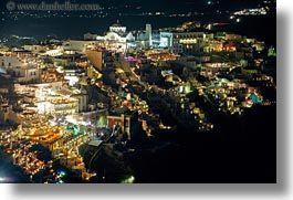 cityscapes, europe, greece, horizontal, nite, santorini, slow exposure, photograph