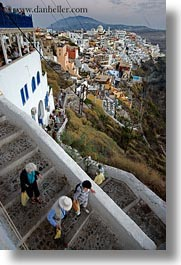 cityscapes, down, europe, greece, people, santorini, stairs, towns, vertical, walking, photograph