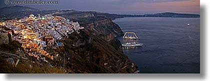 cityscapes, europe, greece, horizontal, ocean, panoramic, santorini, slow exposure, towns, photograph