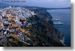 cityscapes, europe, greece, horizontal, ocean, santorini, slow exposure, towns, photograph