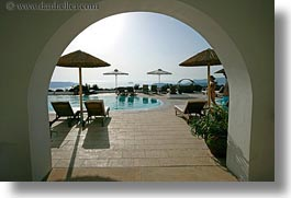 arches, europe, greece, horizontal, hotels, pools, santorini, views, photograph