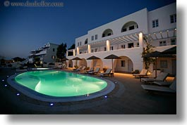 europe, greece, horizontal, hotels, nite, pools, santorini, swimming pool, photograph