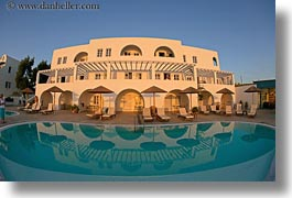 europe, fisheye lens, greece, horizontal, hotels, pools, santorini, swimming pool, photograph