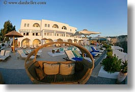 chairs, europe, fisheye lens, greece, horizontal, hotels, lounge, santorini, photograph