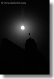 black and white, churches, europe, greece, haze, moon, nite, santorini, silhouettes, vertical, photograph