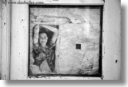abstracts, arts, black and white, europe, faded, greece, horizontal, old, people, photographic image, santorini, windows, womens, photograph