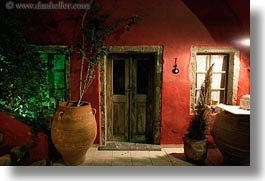 doors, europe, greece, horizontal, potted, red, santorini, trees, walls, woods, photograph