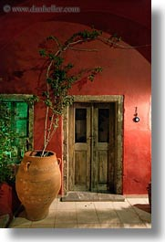 doors, europe, greece, potted, red, santorini, trees, vertical, walls, woods, photograph