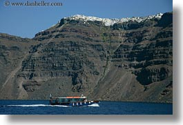 boats, cliffs, europe, greece, horizontal, santorini, scenics, towns, photograph