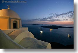 bay, churches, dusk, europe, greece, horizontal, santorini, scenics, ships, slow exposure, sunsets, photograph