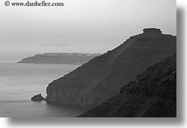 black and white, cliffs, europe, greece, horizontal, into, ocean, rockies, santorini, scenics, photograph