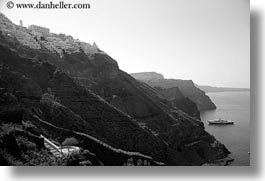 black and white, cliffs, europe, greece, horizontal, ocean, santorini, scenics, ships, towns, photograph