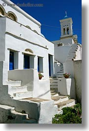 bell towers, buildings, europe, greece, stairs, tinos, vertical, white wash, photograph