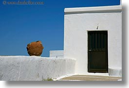 buildings, europe, greece, horizontal, pots, terracotta, tinos, white wash, photograph