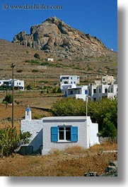 buildings, europe, greece, mountains, stucco, tinos, vertical, white wash, photograph