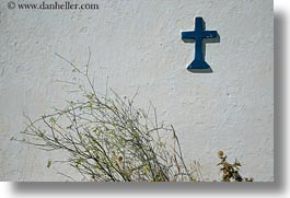 blues, churches, crosses, europe, greece, green, horizontal, tinos, weeds, white wash, photograph