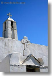 bell towers, buildings, churches, crosses, europe, greece, structures, tinos, vertical, white wash, photograph