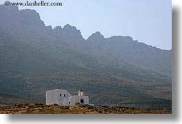 churches, europe, greece, horizontal, mountains, range, tinos, photograph