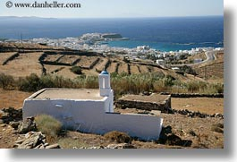 churches, europe, greece, horizontal, ocean, scenics, tinos, views, photograph
